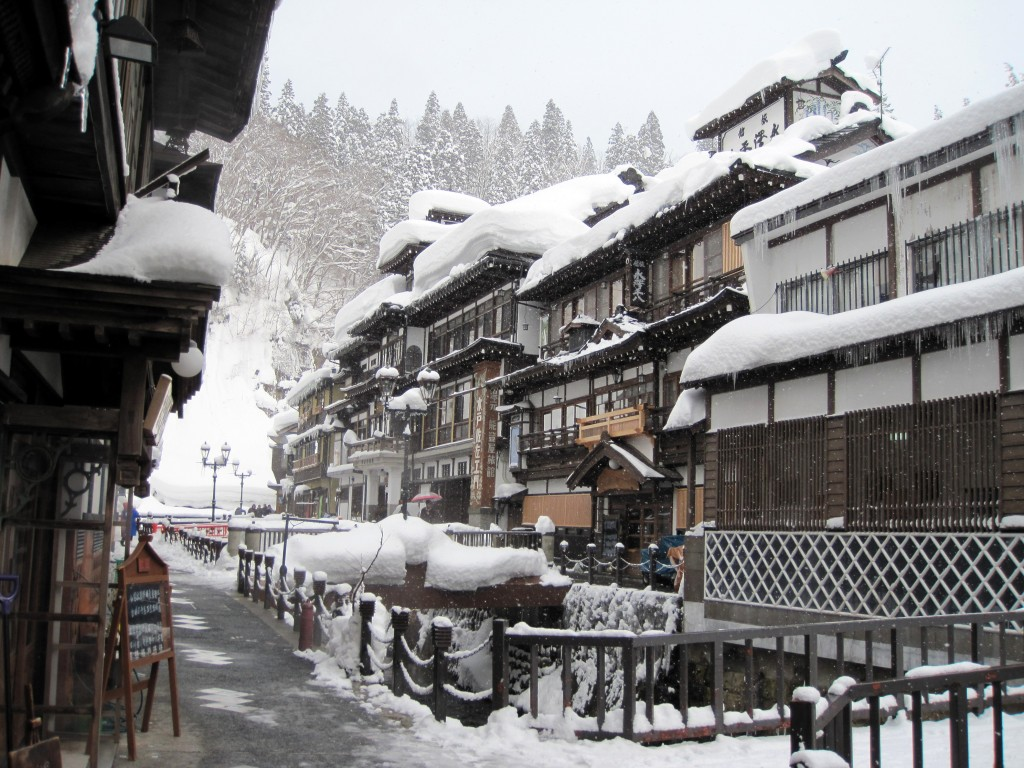 Ginzanonsen, a historical hot springs town in the mountains of Yamagata Prefecture.