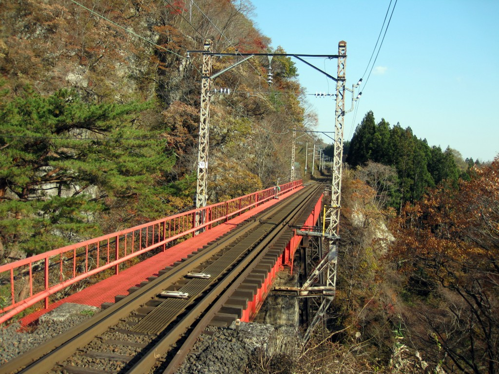 Railway tracks cutting through the mountains of Miyagi Prefecture, Japan.